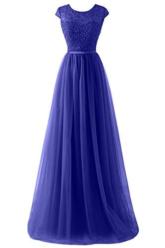 MisShow Damen Elegant Ämellos Tüll Hochzeitskleid mit Spitze lang Royal Blau 44