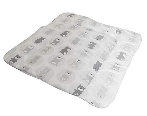 Vizaro - GEPOLSTERTER WICKELTISCHAUFLAGE des Babys - 100% REINE BAUMWOLE - 70x75cm - Made in EU - ÖkoTex - SICHERES PRODUKT - K. Graue Bären