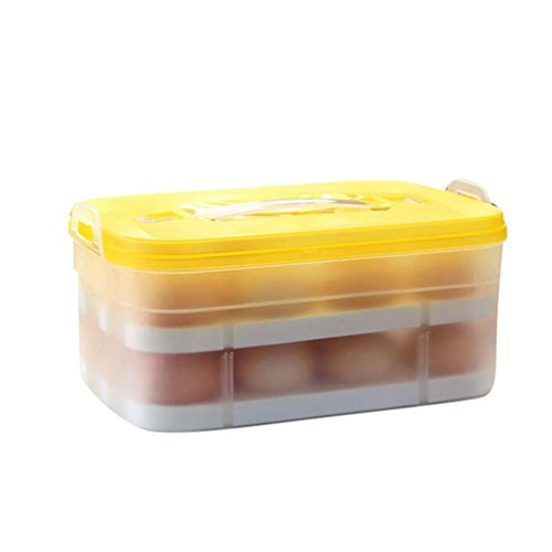 Lumeidon 2 Schichten Eier Halter Tablett, Für 24Eier, Rutschfeste Ei Aufbewahrungsbox Container Mit Tragbaren Griff Für Kühlschrank, Picknick, Theken Gelb 24*16*11cm