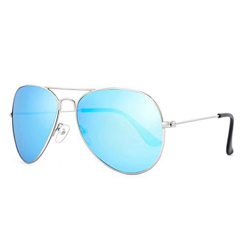 Rocf Rossini sonnenbrille damen polarisiert Pilotenbrille frauen Herren Super Licht verspiegelt Retro Linsen Unisex UV400 Schutz mit harter Box (Blau) -