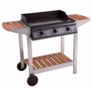 Barbecue Plancha au gaz Luna 3 titane sur chariot