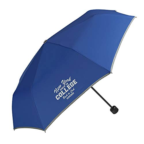 Paraguas Plegable para Niños y Niñas - Compacto y Seguro con Borde Reflectante - Estuche Portátil con Mosquetón - 7+ Años - Diámetro 91 cm - Azul - Perletti Cool Kids