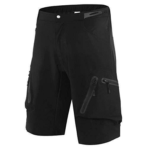 Sportout Herren Mountainbike Biker Shorts, Fahrrad MTB Shorts, Loose Fit Radfahren Ausgebeult Leichte Hose mit Reißverschluss Taschen schnell trocknend