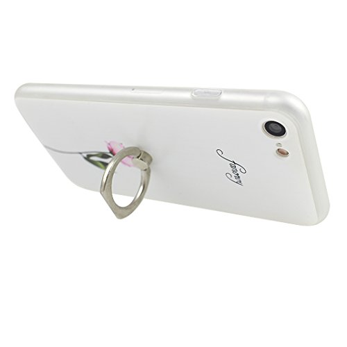 Coque iPhone 7, Rosa Schleife iPhone 7 Case, Ultra Slim TPU Souple Etui Silicone Case et Protection écran pour Apple iPhone 7 Relief 3D Pattern Béquille Bague Support Ring Holder Rose