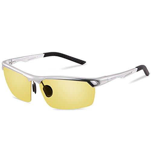 DUCO Nachtsichtbrille Anti-Glanz Fahren Brillen Kontrast-Brille Nachtfahrbrille polarisierte 8550 (Silber)