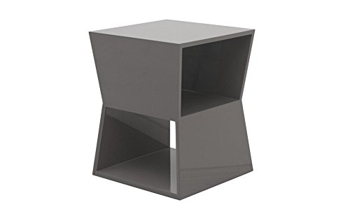 designement Watson Table d'appoint Laqué Gris 33 x 33 x 42 cm