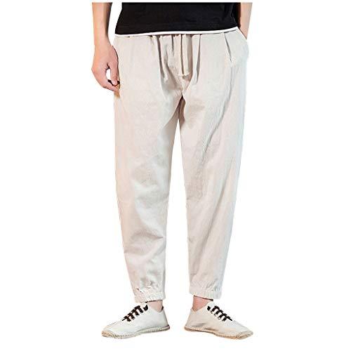 Herren Freizeithose Strandhosen Chino Hose Dünne Leicht Pyjamahosen Casual Jogginghose Sweat-Pants Sporthose Hose aus Baumwolle und Leinen -