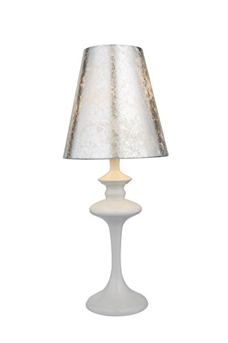 Anderson Premier Housewares Iron Table Lamp with Plastic Lampshade - White