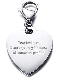 75a1fa3e7010 Vnox Personnalisé Personnalisé Porte-clés en Forme de Coeur en Acier  Inoxydable en Forme de Coeur Porte-clés pour Femme Fille,…