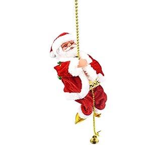 Amosfun Juguete de Papá Noel Escalando Cuerda Juguete Eléctrico Bailando Cantando Figura de Papá Noel Regalo Navidad para Niños