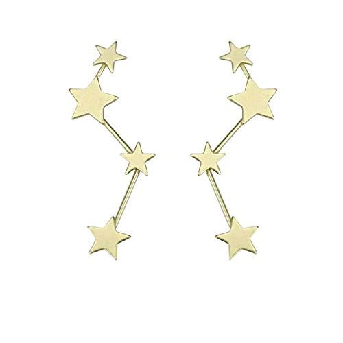 Frauen Geometrische Ohrringe Mädchen Metall-Verbindungs   Sterne-Ohr-Bolzen-Klipp Pin-Jacke Spike Schmuck Regard (Frauen Spike-bolzen-ohrringe Für)