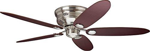 Hunter Deckenventilator Low Profile II Wendeflügel, 1 Stück, 112-132 cm, ahorn/braun/chrom gebürstetet, 24372 -
