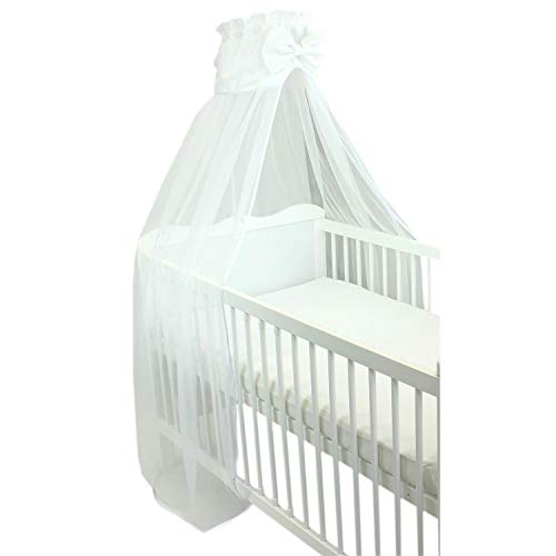TupTam Babybett Himmel mit Schleife Transparent, Farbe: Weiß, Größe: ca. 170x240 cm