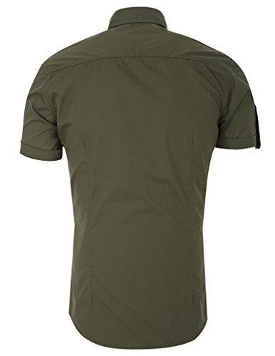 Paul Jones® Mode Hemd Stilvolle Slim Fit Kurzarm Freizeithemden Casual Shirt Armee Grün