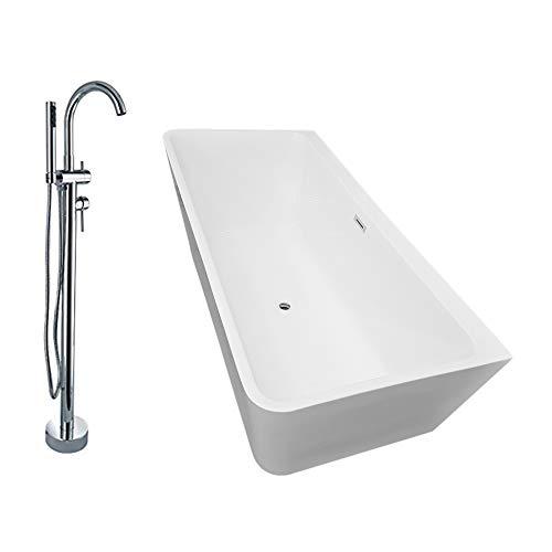 Freistehende Badewanne Acryl VENEZIA weiß - 170 x 80 cm inkl. Standarmatur 8028
