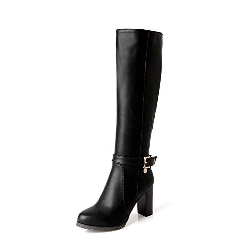 Herbst Frauen Stiefel Plattformen Platz Knie Ferse Stiefel Motorrad Dame Schuhe Größe 34-43 ()