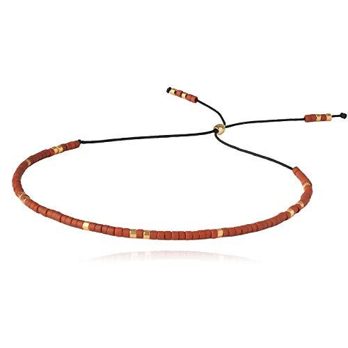 KELITCH Winzige Strand Armbänder Seil Handgewebte Samen Perlen Armbänder Schnur Schnur Armbänder für Frauen (E)