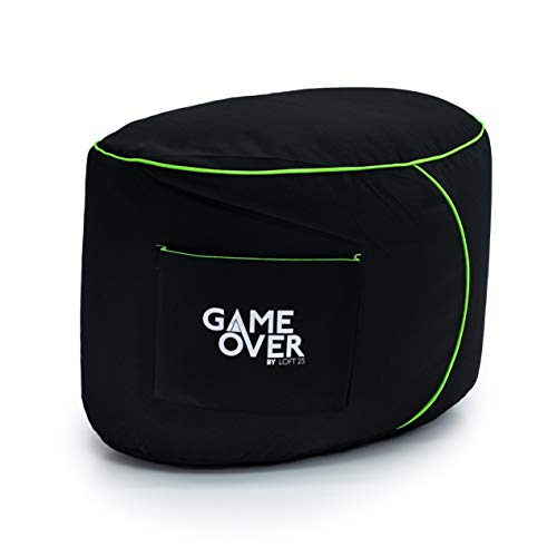 Loft 25® GAME OVER Fel Magic (Limette) Gaming Spielen Sitzsack Fußhocker