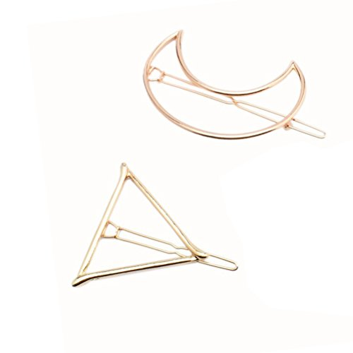 PIXNOR 2pcs Frauen Mädchen Blatt Haarklammern/Haarclips Haargreifer - Dreieck Mond (Gold)