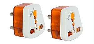 POOJA Hard PVC 5 to 15 Ampere Converter Socket for Big Size 16 Ampere Plug Top with Universal Sockets for International Pins (Orange) - Pack of 2