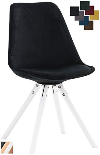 CLP Besucherstuhl Pegleg Mit Samtbezug I Gepolsterter Schalenstuhl Mit Runden Holzbeinen I Sitzhöhe: 46 cm Schwarz, weiß