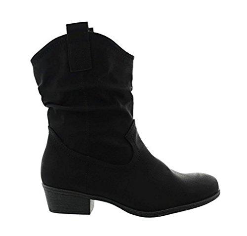 King Of Shoes Damen Stiefeletten Cowboy Western Stiefel Boots Schlupfstiefel Schuhe 37 (39, Schwarz 36)