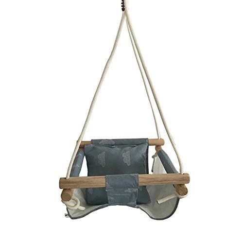 Huaijiang Baby Swing Hängematte Sitz Set Canvas hängen Stuhl mit Kissen Todder Outdoor Indoor Garten Holz Schaukel Rocker Last Lager 50Kg,G