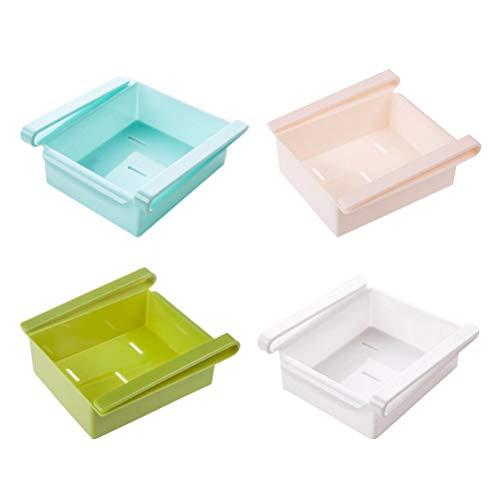 Bestonzon 4 pezzi frigorifero storage rack fridge drawer organizer pull out bidoni frigo scaffale titolare storage box cucina mensole (bianco verde rosa blu)