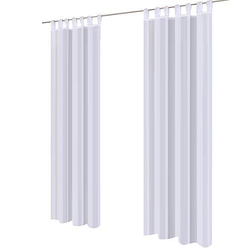 Lot de 2 gräfenstayn® venezia - rideau monochrome transparent en voile - nombreux coloris attrayants - dimensions (longueur x largeur) : 245x140cm chacun (blanc)