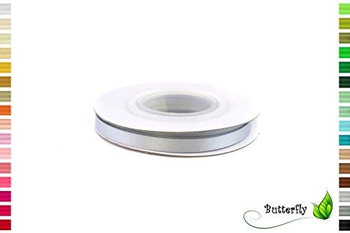 Creativery Satinband 6mm x 10m Doppelseitig Silber Grau (Band Silber Hochzeit Dünne)