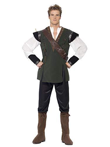SMIFFYS Costume da Robin Hood, verde con pantaloni, maglietta, cinta con porta frecce e