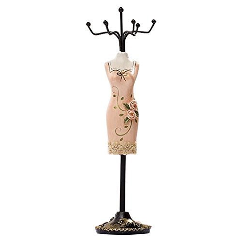 SODIAL(R) Jewelry Organizer Hanging Earring Necklace Display Mannequins Dress Lady Figure Stand Holder Pink