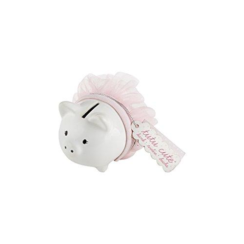 Kate Aspen Tutu Cute Keramik mini-piggy Bank, weiß/pink