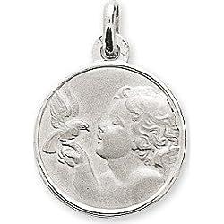 www.diamants-perles.com - Médaille Baptème - Médaille religieuse - Ange - Ronde - Or Blanc - 375/1000