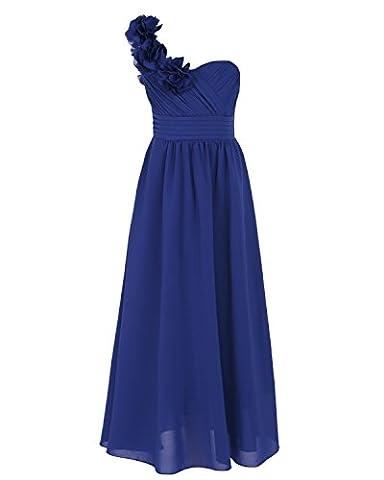 iEFiEL Blumenmädchenkleid Festlich Hochzeit Mädchen Brautjungfern Kleider Prinzessin Festkleid Festzug 104-164 Dunkel Blau 140