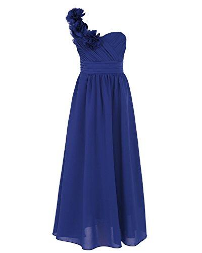 iEFiEL Blumenmädchenkleid Festlich Hochzeit Mädchen Brautjungfern Kleider Prinzessin Festkleid Festzug 104-164 Dunkel Blau 164