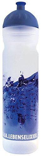 ISYbe Trinkflasche 1,0L (schadstofffrei, spülmaschinengeeignet, auslaufsicher) (Wasser, weiß-transparent)