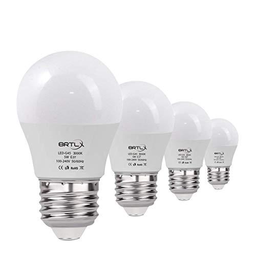 BRTLX G45 LED Lampen E27 5W Warmweiß 3000K 45 W Glühbirne Entspricht 220° Abstrahlwinkel 400lm Nicht Dimmbar 4er Pack -