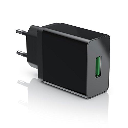 CSL - USB Ladegerät 18W Quick Charge 3.0 | Netzteil mit Schnellladefunktion | Smart Charge + Solid Charge (intelligentes Laden) | geeignet für Handys, Smartphones, Navis, Tablets uvm. | schwarz