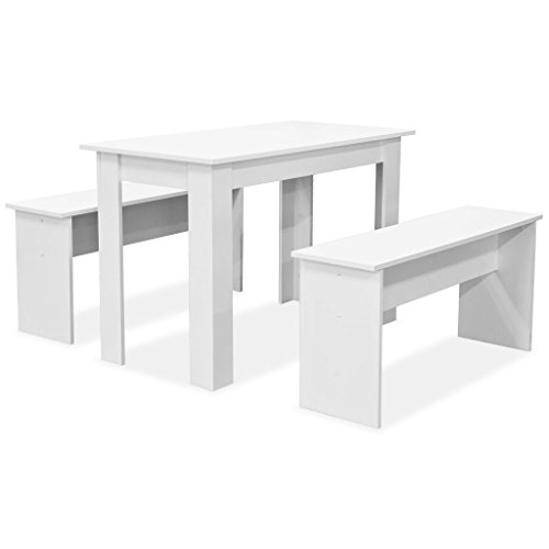 vidaXL Essgruppe 3-TLG. Spanplatte Weiß Tischgruppe Esstisch Küchentisch Bänke