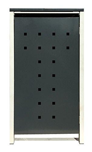BBT@ | Hochwertige Mülltonnenbox für 4 Tonnen je 240 Liter mit Klappdeckel in Grau / Aus stabilem pulver-beschichtetem Metall / Stanzung 7 / In verschiedenen Farben sowie mit unterschiedlichen Blech-Stanzungen erhältlich / Mülltonnenverkleidung Müllboxen Müllcontainer - 8