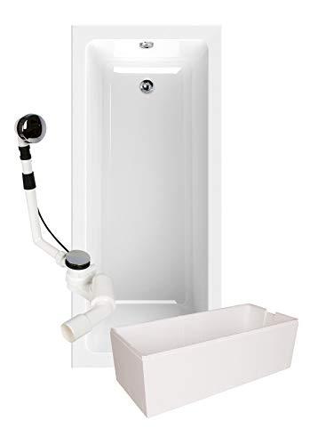 Calmwaters - Dominique - Rechteck-Badewanne im Komplettset mit Wannenträger und Ablaufgarnitur in 170 x 75 cm - 99000165
