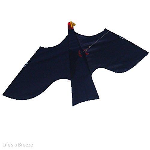 tierabwehr-repelente-kite-negro-se-puede-vuelo-con-forma-de-halcon-incluye-mastil-telescopico-aparej