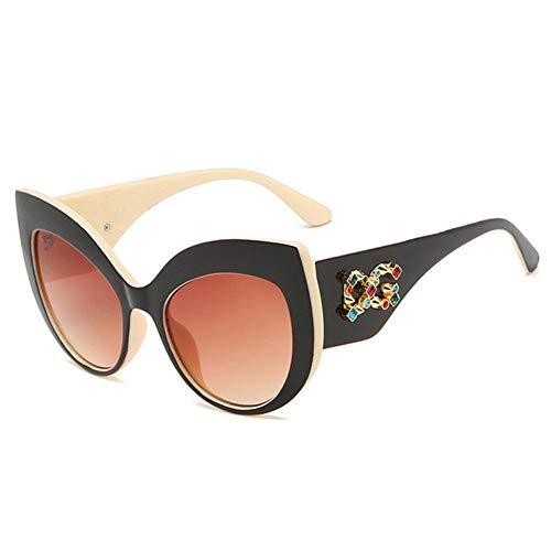 Sonnenbrille Europa und Amerika Cat Eye Sonnenbrille mit großem Rahmen Cat Eye Metallrahmen Lady Ms. Fashion Sonnenbrille Mirror Lens Lady Sonnenbrille@Äußerer schwarzer beige Rahmen