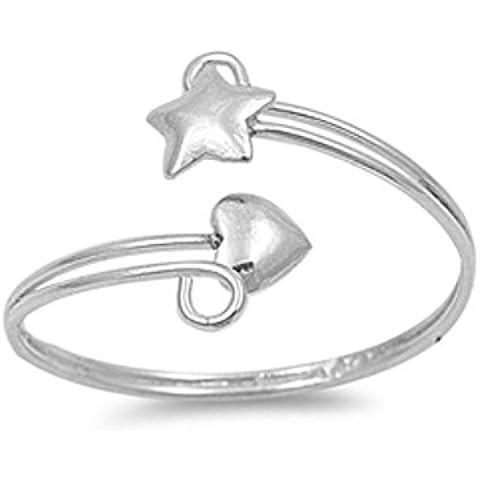 925 d'argento a forma di cuore e della stella Anello regolabile