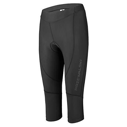 Przewalski Damen Premium 4D Gepolsterte Atmungsaktive 3°4 Fahrradhose, Damen-Fahrradhose, atmungsaktiv und schnell trocknend - Schwarz - X-Groß