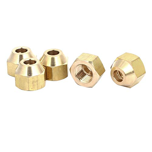 ZCHXD 1/4BSP Brass Flare Nuts Air Conditioner Parts Fittings 5pcs for 6mm Dia Pipe -