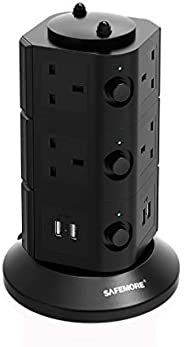 Safemore Extension Lead Electric Surge Protector Adapter Multi Way Outlet Sockets USB (2.1A Output) Ports Towe