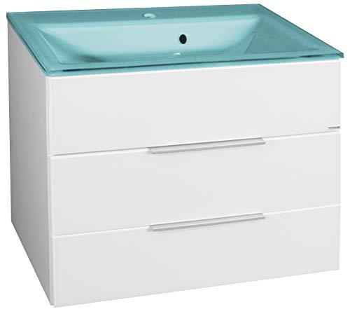 FACKELMANN Kara Badmöbel Set 2 Teile/Glas Waschbecken/Waschbeckenunterschrank mit 2 Schubladen/Badschrank mit Soft-Close-System/Korpus: Weiß/Front: Weiß/Blende: Schwarz/Breite: 80 cm