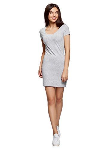 oodji Ultra Damen Enges Jersey-Kleid, Grau, DE 34 / EU 36 / XS